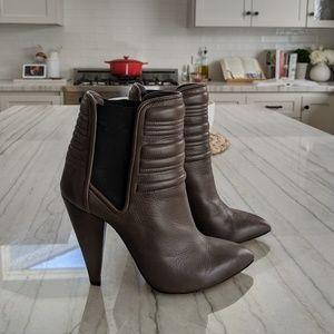 IRO Klara Grey Quilted Leather Booties